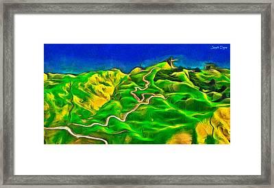 Mountains And Ocean - Da Framed Print by Leonardo Digenio