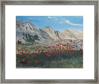 Framed Print featuring the painting Mountains And Poppies by Betty-Anne McDonald
