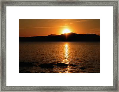 Mountains And River At Sunset Framed Print