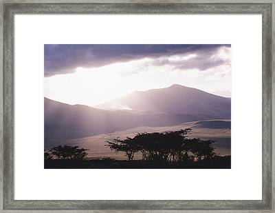 Mountains And Smoke, Ngorongoro Crater Framed Print by Skip Brown