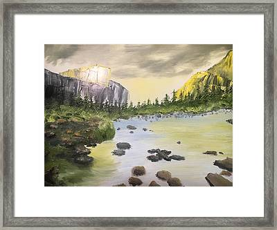 Mountains And Stream Framed Print