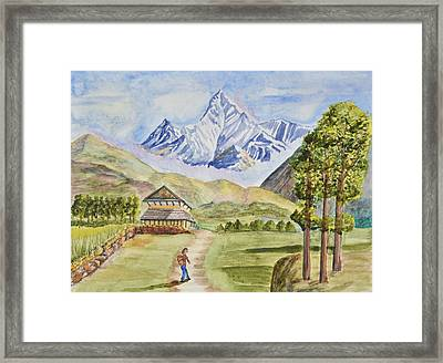 Mountains And Valley Framed Print by Linda Brody