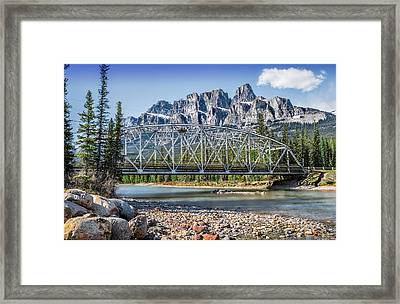 Mountains Bridge And River- By Carol Cottrell Framed Print