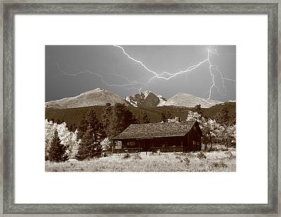 Mountains Cabin - Lightning - Longs Peak Framed Print by James BO  Insogna