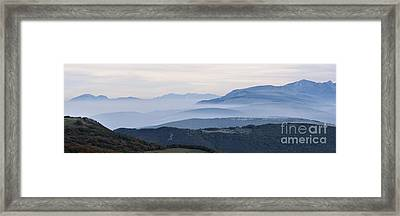 Mountains In The Fog Of Mount San Vicino, Italy Framed Print