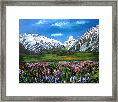 Mountains Landscape Acrylic  Painting Framed Print by Natalja Picugina