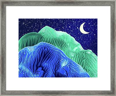 Mountains Moon Starry Night Abstract Landscape Framed Print by Amy Vangsgard