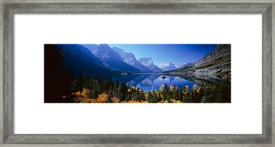 Mountains Reflected In Lake, Glacier Framed Print