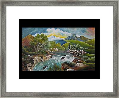 Mountain's River Framed Print by Netka Dimoska