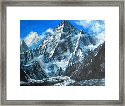 Mountains View Landscape Acrylic Painting Framed Print by Natalja Picugina