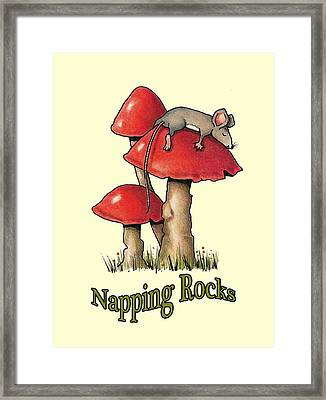 Mouse Napping On Toadstool Framed Print