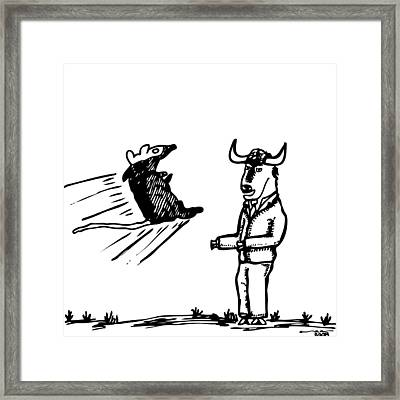 Mouse Vs. Buffalo Framed Print by Karl Addison