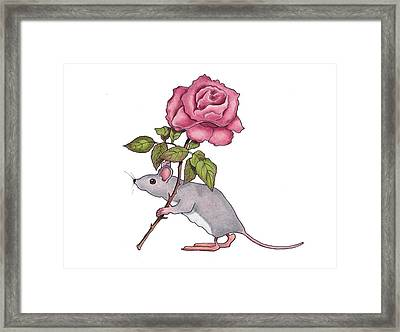 Mouse With Pink Rose Framed Print