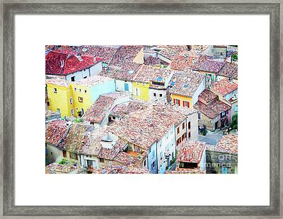 Moustiers Sainte Marie Roofs Framed Print by Anastasy Yarmolovich
