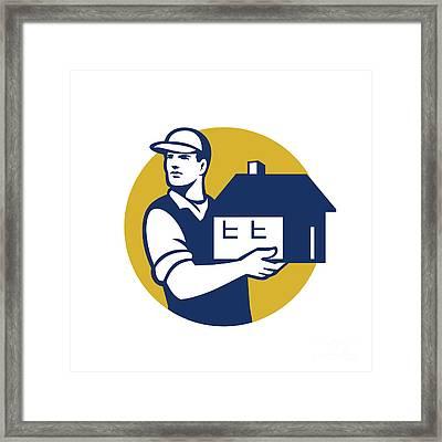 Mover Handling House Circle Retro Framed Print by Aloysius Patrimonio