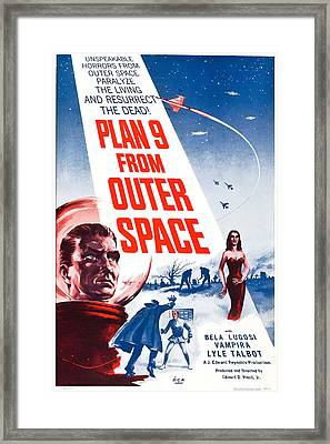 Movie Poster For Plan 9 From Outer Space  Framed Print by Celestial Images