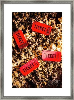 Movie Tickets On Scattered Popcorn Framed Print