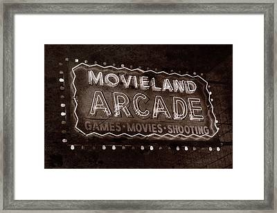 Framed Print featuring the photograph Movieland Arcade - Gritty by Stephen Stookey