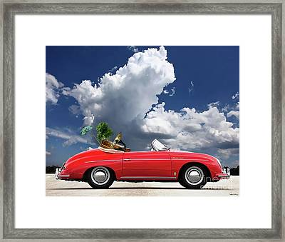 Moving Day, 1958 Red Porsche 356a, 1600 Speedster Framed Print