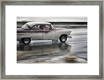 Moving Old Car Framed Print