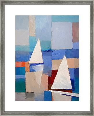 Abstract Sailboats Framed Print