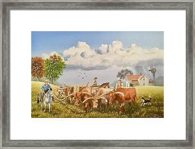 Moving The Herd Framed Print