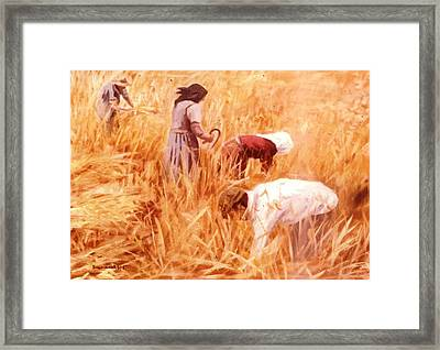 Mowing Harvest Framed Print by George Siaba