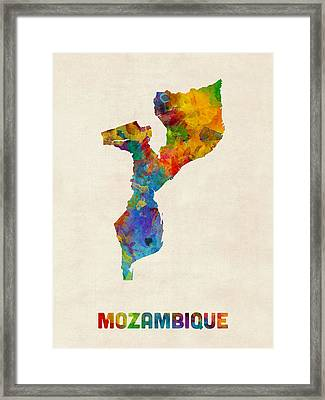 Mozambique Watercolor Map Framed Print by Michael Tompsett