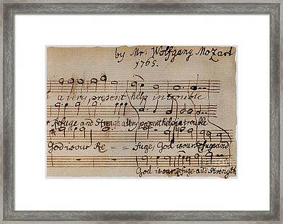 Mozart: Motet Manuscript Framed Print