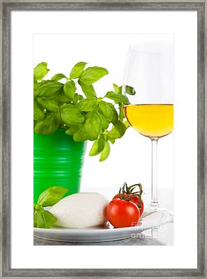 Mozzarella With Tomatoes Basil And Wine Framed Print by Wolfgang Steiner