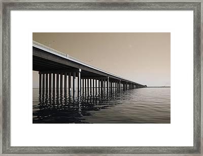 Mprints - Hwy 90 Bridge Framed Print by M  Stuart