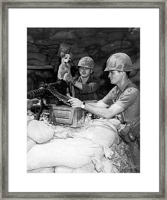 Mps And Their Mascot Framed Print by Underwood Archives