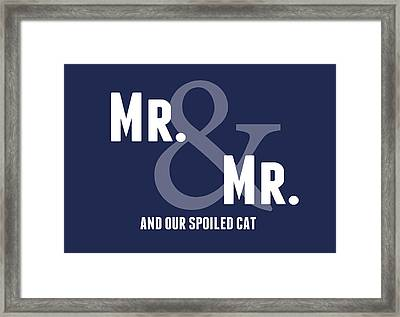 Mr And Mr And Cat Framed Print by Linda Woods