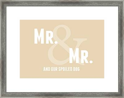 Mr And Mr And Dog- Sand Framed Print by Linda Woods