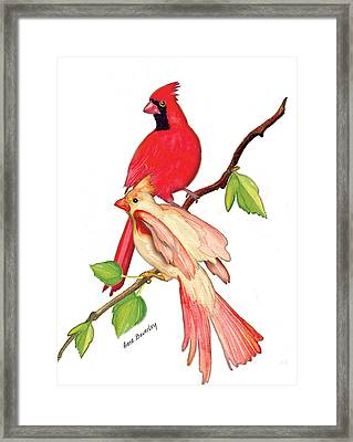 Framed Print featuring the painting Mr. And Mrs. Cardinal by Anne Beverley-Stamps