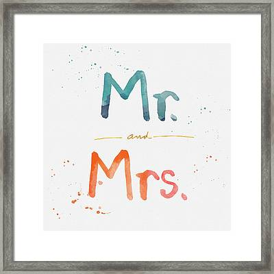 Mr And Mrs Framed Print by Linda Woods