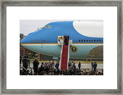 Mr And Mrs Obama Waving Goodbye After Leaving Office Framed Print by Valentina Lopez
