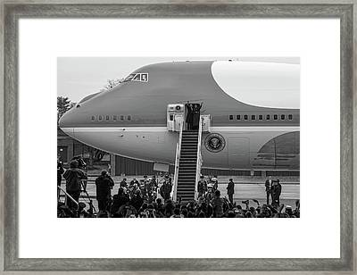 Mr And Mrs Obama Waving On Air Force One Waving Goodbye After Leaving Office Framed Print