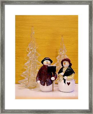 Mr And Mrs Snowman Framed Print