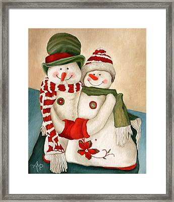 Mr. And Mrs. Snowman Vintage Framed Print by Angeles M Pomata