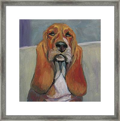 Framed Print featuring the painting Mr. Distinguished by Susan  Spohn