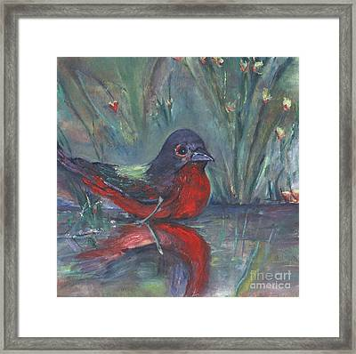Framed Print featuring the painting Mr. Finch by Helena Bebirian