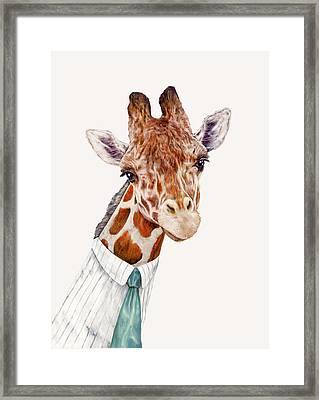 Mr Giraffe Framed Print by Animal Crew