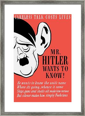 Mr Hitler Wants To Know - Ww2 Propaganda  Framed Print by War Is Hell Store