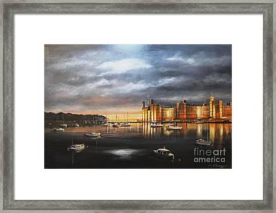 Caernarfon Castle, At Night Framed Print by Kevin Andrews BA