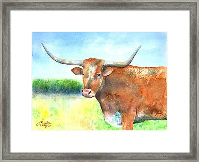 Mr. Longhorn Framed Print by Arline Wagner