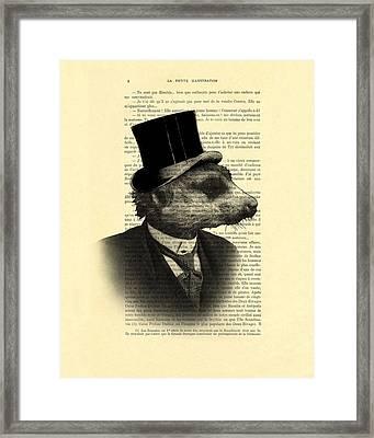 Meerkat Portrait In Black And White Framed Print