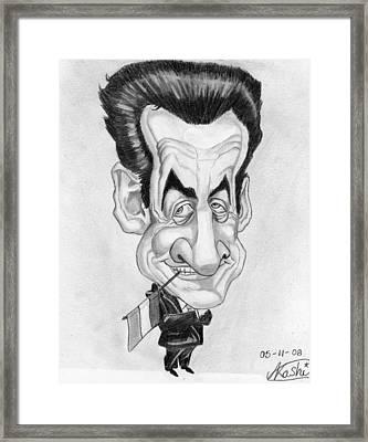 Mr Nicolas Sarkozi Caricatur Portrait Framed Print