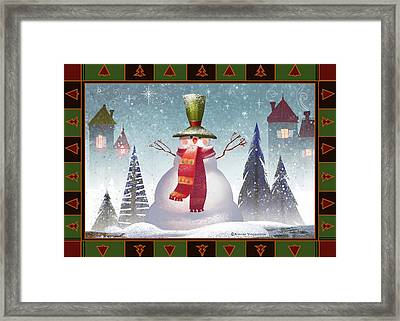 Mr. Snowman Framed Print by Kristina Vardazaryan