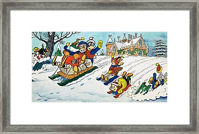 Mr Toad Tobogganing Framed Print by English School